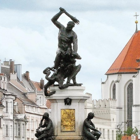 The Hercules Fountain on the Maximilian Street in Augsburg